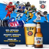 NFL Sundays at The Pub SXM with Miller Lite beer specials!   Drink Responsibly. 18 +  - - - #NFL #NFLSeason #NFLSundays #Football #MillerLite #Beer #BeerWholesaler #ILTTSXM #InternationalLiquorsSXM #StMaarten #SXM #LiveSports #Pub #BeerSpecials #MilelrLiteBeer #Caribbean #ThingsToDoInStMaarten #October #Tropical #FootballSeason #NFLHighlights